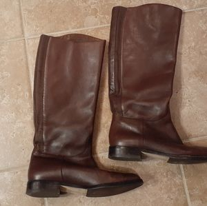 Brown Leather Knee High Elastic Pull Up Boots